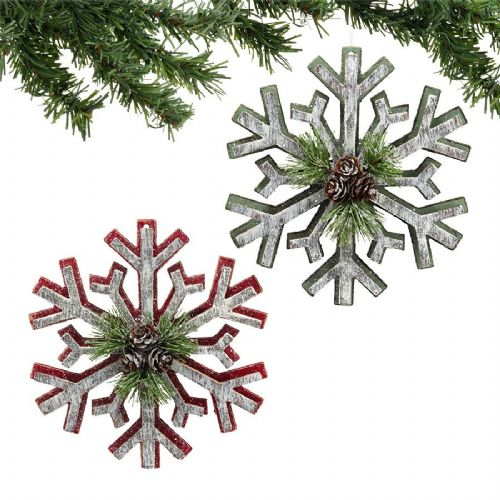 Wood Cut-Out Snowflake Ornaments Set of 2